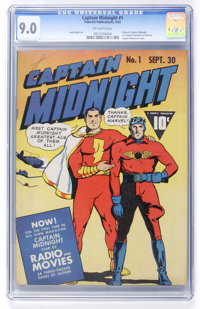Captain Midnight #1 (Fawcett, 1942) CGC VF/NM 9.0 Off-white pages