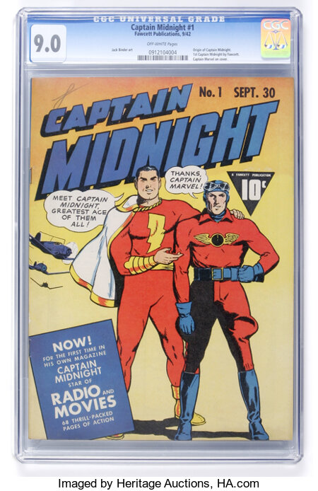 Captain Midnight #1 (Fawcett, 1942) CGC VF/NM 9.0 Off-white pages....
