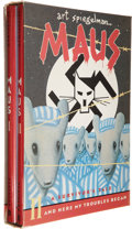 Books:General, Maus: A Survivor's Tale by Art Spiegelman Signed Two VolumeSet (Pantheon, 1991)....