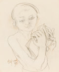 Fine Art - Painting, American:Contemporary   (1950 to present)  , PHILIP EVERGOOD (American, 1901-1973). Boy with Book, 1961.Graphite on paper. 17 x 13-1/2 inches (43.2 x 34.3 cm) windo...