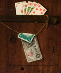 Fine Art - Painting, American:Antique  (Pre 1900), AMERICAN SCHOOL (20th Century). Royal Straight Flush and FiveDollar Bill. Oil on board. 13-1/2 x 16 inches (34.3 x 40.6...