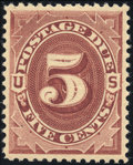 Stamps, 1884, 5c Red Brown (J18),...