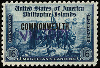 """1944, 16c Blue, Large Commonwealth with Handstamped """"VICTORY"""" Overprint (479)"""