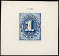 Stamps, 1c Die Essay in Blue on Ivory Glazed Paper (J1-E1d),...