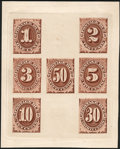Stamps, 1c - 50c Hybrid Large Die Proof in Brown (J1-7P1),...