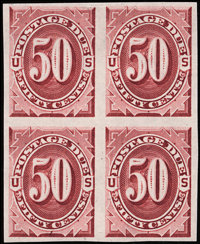 1c - 50c Bright Claret, Plate Proofs on India (J22-28P3)
