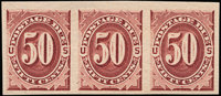 1c - 50c Bright Claret, Plate Proof on Gummed Stamp Paper (J22-28Pa)