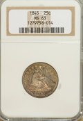 Seated Quarters: , 1845 25C MS63 NGC. NGC Census: (17/20). PCGS Population (13/12). Mintage: 922,000. Numismedia Wsl. Price for NGC/PCGS coin ...