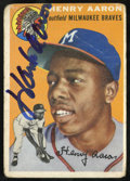 Autographs:Sports Cards, 1954 Topps Hank Aaron #128 Signed Card. ...