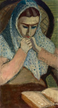 Fine Art - Painting, American:Modern  (1900 1949)  , MILTON AVERY (American, 1893-1965). Portrait of Sally with BlueShawl, circa 1932. Oil on linen laid on board. 26 x 14 i...