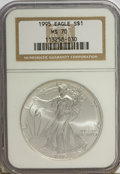 Modern Bullion Coins: , 1995 $1 Silver Eagle MS70 NGC. NGC Census: (76/0). PCGS Population(1/0). Mintage: 4,672,051. Numismedia Wsl. Price for NGC...