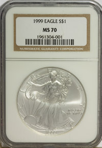 1999 $1 Silver Eagle MS70 NGC. NGC Census: (0/0). PCGS Population (0/0). Numismedia Wsl. Price for NGC/PCGS coin in MS70...