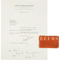 Movie/TV Memorabilia:Autographs and Signed Items, Ernie Kovacs Signed Letter and Card. ...