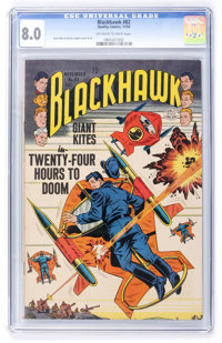 Blackhawk #82 (Quality, 1954) CGC VF 8.0 Off-white to white pages