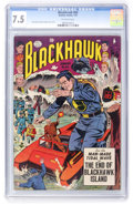 Golden Age (1938-1955):War, Blackhawk #84 (Quality, 1955) CGC VF- 7.5 Off-white pages....