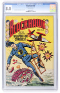 Golden Age (1938-1955):War, Blackhawk #86 (Quality, 1955) CGC VF 8.0 Off-white pages....