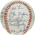 Autographs:Baseballs, 1984 Cleveland Indians Team Signed Baseball. Great collection of 19signatures from the 1983 Cleveland Indians, including a...