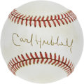 Autographs:Baseballs, Carl Hubbell Single Signed Baseball. ONL (Feeney) ball here sportsa neat sweet spot signature courtesy of the Hall of Fame...
