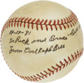 Autographs:Baseballs, 1981 Cool Papa Bell Single Signed Inscription Baseball. Regarded byhis Negro league peers as the fastest among their ranks...