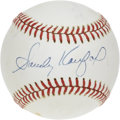 Autographs:Baseballs, Sandy Koufax Single Signed Baseball. Despite a few spots of foxingthat have plagued the Koufax single we present here, the...