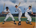 Baseball Collectibles:Others, Mays, Mantle & Snider Signed Print. Depending on where he grewup in the New York City area, and who his parents were, a yo...