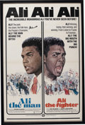 """Boxing Collectibles:Autographs, Muhammad Ali Signed """"Ali, The Fighter"""" Poster. Preserved in wonderful condition with an example of the star's signature nea..."""