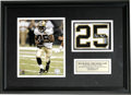 Football Collectibles:Others, Reggie Bush First Home Game Uniform Piece Display. Game worn uniform number (25) from the New Orleans Saints 20-3 win ove...
