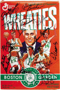 """Basketball Collectibles:Others, Boston Celtics Greats Multi-Signed Wheaties Box. Unopened box of """"The Breakfast of Champions"""" pictures six Hall of Fame mem..."""