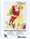 Basketball Collectibles:Others, 1992 ECAC Holiday Festival Tournament Poster Signed by LeRoy Neiman. Designed for the 1992 winter tournament featuring NCAA...