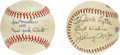 """Autographs:Baseballs, Johnny Mize and Don Mueller Single Signed Baseballs. Johnny """"BigCat"""" Mize was a big, burly first baseman that could hit fo..."""