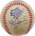 Autographs:Baseballs, Roger Clemens Single Signed Baseball. The Rocket offers a 10/10blue side panel signature on a 1999 World Series sphere, re...