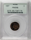 Proof Indian Cents: , 1897 1C PR65 Red and Brown PCGS. The obverse of this Gem is orange with a spot of magenta on the center feathers, while the...