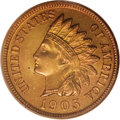 Proof Indian Cents: , 1905 1C PR66 Red PCGS. Cherry-red dominates the obverse despite a glimpse of lemon. The reverse is yellow-gold with a swath...