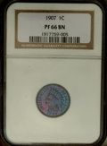 Proof Indian Cents: , 1907 1C PR66 Brown NGC. Electric blue and magenta-violet dance on the lively surfaces of this Premium Gem, walnut-brown at ...