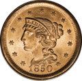 Large Cents: , 1850 1C MS65 Red PCGS. N-19, R.2. Grellman Die State b. A latestate with nearly all of the lines and lumps now entirely go...