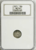 Three Cent Silver: , 1871 3CS MS60 NGC. Well struck with areas of mercury-gray andmidnight-blue toning. Luminous with myriad wispy marks and a ...