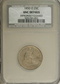 Seated Quarters: , 1850-O 25C --Improperly Cleaned--NCS. Unc Details. While this issuehas a comparatively high mintage of 412,000 pieces, it e...