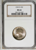 Washington Quarters: , 1935-D 25C MS66 NGC. One of the semi-keys to the series, along withthe 1936-D and 1937-S. Well-preserved and luminous bene...
