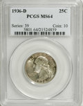 Washington Quarters: , 1936-D 25C MS64 PCGS. Well struck with intense satin luster andspeckled dark-green, russet, and iridescent rose patina ove...