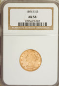 Liberty Half Eagles: , 1894-S $5 AU58 NGC. NGC Census: (45/22). PCGS Population (10/12).Mintage: 55,900. Numismedia Wsl. Price for NGC/PCGS coin ...