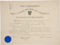 "Autographs:U.S. Presidents, Theodore Roosevelt Document Signed as president and countersignedby Secretary of War Elihu Root. One page, 21"" x 16"", D..."
