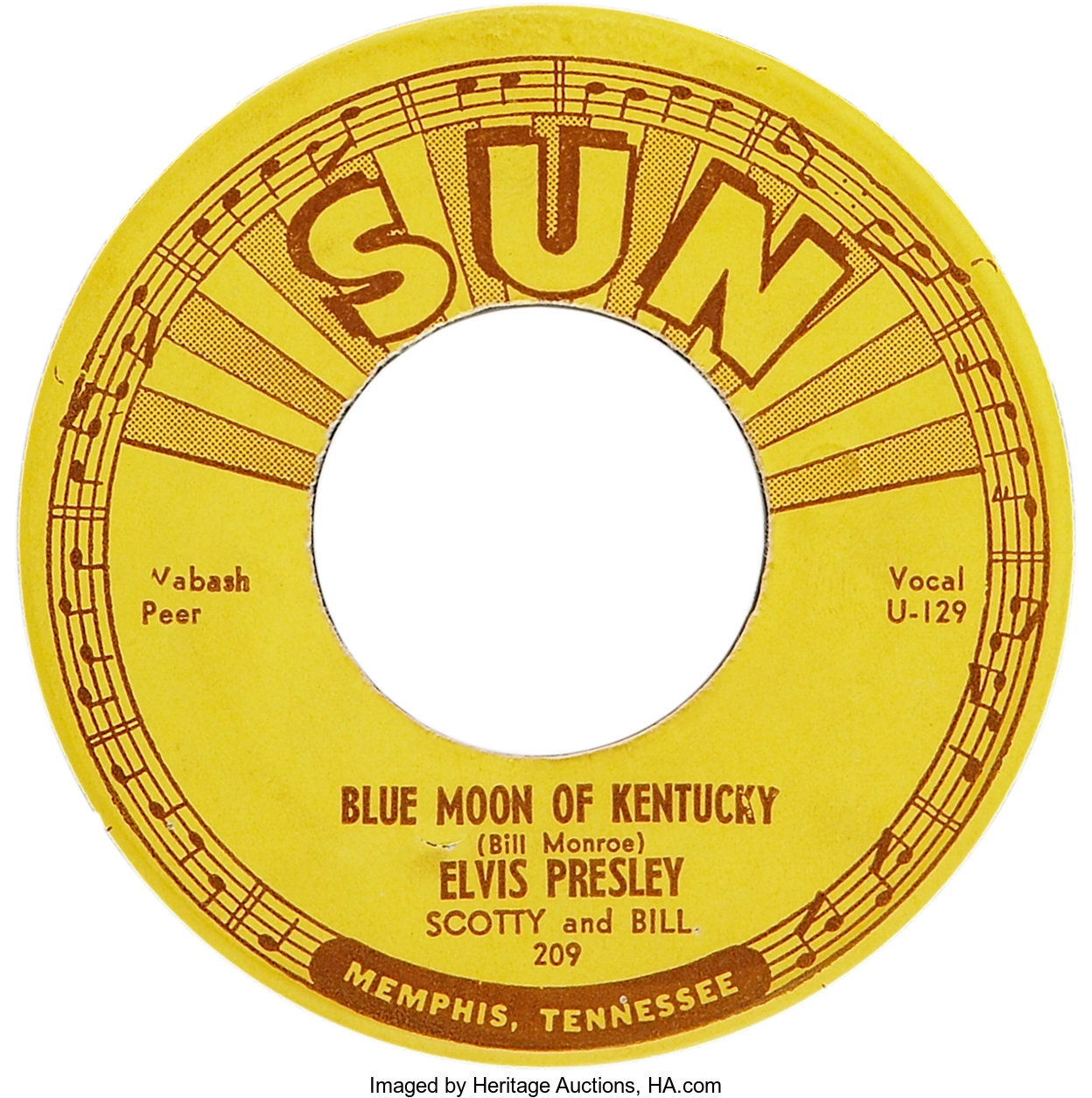 """Elvis Presley """"That's All Right""""/""""Blue Moon of Kentucky"""" 45 (Sun 
