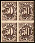 Stamps, 1c - 50c Brown, Plate Proofs on India (J1-7P3),... (Total: 3 Card)