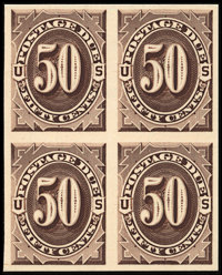 1c - 50c Brown, Plate Proofs on India (J1-7P3)