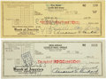Movie/TV Memorabilia:Autographs and Signed Items, Lucille Ball and Desi Arnaz Signed Checks.... (Total: 2 Items)