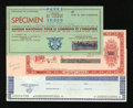 Miscellaneous:Other, Belgian and French Traveler Check Specimens.. ... (Total: 3 items)