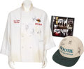 Music Memorabilia:Autographs and Signed Items, Hootie & The Blowfish Signed Chef Coat, Hat, and CD.... (Total:5 Items)