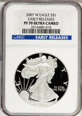 Modern Bullion Coins, 2007-W $1 Silver Eagle Early Releases PR70 Ultra Cameo NGC. PCGSPopulation (926/0). (#149572)...