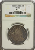 Early Half Dollars: , 1807 50C Draped Bust F12 NGC. O-102. NGC Census: (50/671). PCGSPopulation (33/827). Mintage: 301,076. Numismedia Wsl. Pri...