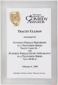 Movie/TV Memorabilia:Awards, Tracey Ullman's 2000 American Comedy Award Nomination....